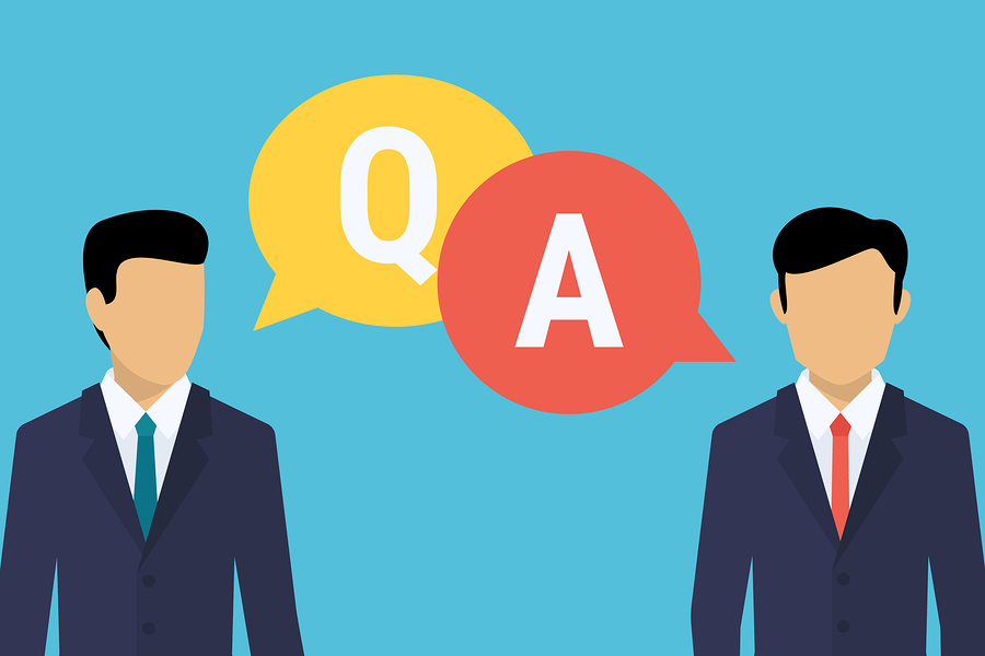 Consulting business advise. Businessman and consultant with speech bubbles and letters q and a. Flat illustration of consult expert for financial and analytics support. Business expert consult advise
